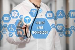 Medical Doctor with stethoscope and word prevent diabetes in Med. Ical network connection on the virtual screen on hospital background.Technology and medicine Royalty Free Stock Photography