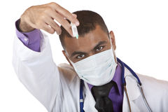 Medical doctor with swine flu injection Royalty Free Stock Image