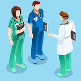 Medical Doctor Talking with Two Nurses Vector Isometric People Royalty Free Stock Image