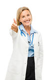 Medical doctor thumbs up sign happy isolated on white background Royalty Free Stock Image