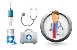 Medical doctor, tools, and icons Stock Photo