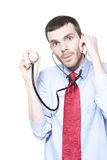 Medical Doctor Using Stethoscope During Checkup Stock Images