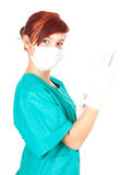 Medical doctor woman in goves Royalty Free Stock Image