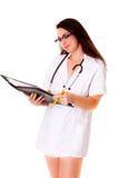 Medical doctor woman iIsolated on white background phonendoscope Stock Photography