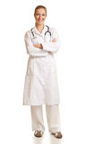 Medical doctor woman isolated on white Royalty Free Stock Photography