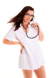 Medical doctor woman isolated on white background phonendoscope Royalty Free Stock Photo
