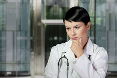 Medical doctor woman in the office, diagnosis Stock Images