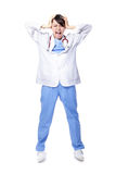Medical doctor woman with problem Royalty Free Stock Photos