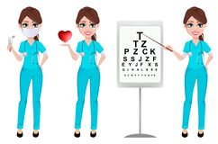 Medical doctor woman, set of three poses. Cardiologist, ophthalmologist and dentist. Medicine, healthcare concept. Beautiful cartoon character. Vector stock illustration