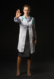Medical doctor woman showing stop gesture Royalty Free Stock Image