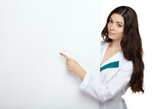 Medical doctor woman smile hold blank card board Royalty Free Stock Photos