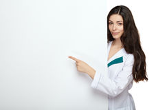Medical doctor woman smile hold blank card board Royalty Free Stock Images
