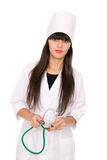 Medical doctor woman with stethoscope Stock Image
