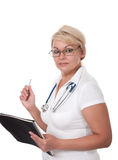 Medical doctor woman with stethoscope Royalty Free Stock Photography