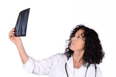 Medical doctor woman with xray. stock photos