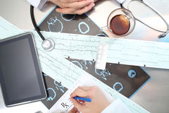 Medical doctor work on a daily medical reception. Of patients Stock Photos