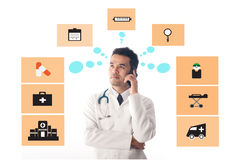 Medical Doctor working and use smartphone. Royalty Free Stock Photo