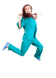Medical doctoror nurse jumping Royalty Free Stock Photos