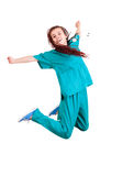 Medical doctoror nurse jumping Stock Photography