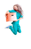 Medical doctoror nurse jumping Royalty Free Stock Images