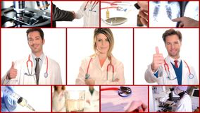 Medical doctors collage stock video