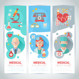Medical doctors flat portraits on banners Royalty Free Stock Images