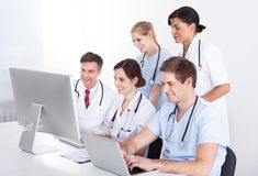 Medical doctors group at hospital Royalty Free Stock Images
