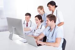 Medical doctors group at hospital Stock Photo