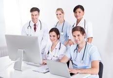 Medical doctors group at hospital Royalty Free Stock Photos