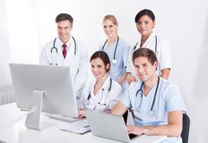 Medical doctors group at hospital Royalty Free Stock Photography