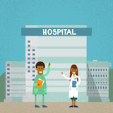 Medical Doctors Hospital Building Flat Royalty Free Stock Photography