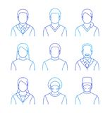 Medical doctors and patients thin line avatars stock image