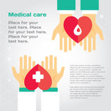 Medical donation. Hands give heart to another. Modern flat illustration with place for text. Layered EPS file royalty free illustration