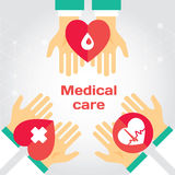 Medical donation. Hands give heart to another. Modern flat illustration with place for text. Layered EPS file vector illustration