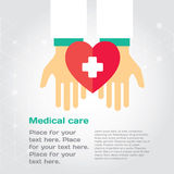Medical donation. Hands give heart to another. Modern illustration with place for text. Layered EPS file stock illustration