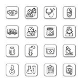 Medical Doodle Icons. A collection of different kinds of medical doodle icons. It contains hi-res JPG, PDF and Illustrator 9 files Stock Image