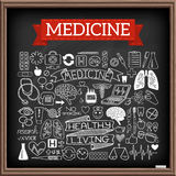 Medical doodles on chalk board Royalty Free Stock Photography
