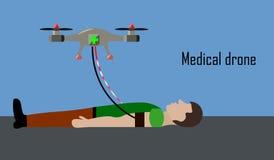 Medical drone helps sick man Stock Photos