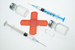 Medical drug vials and syringes Stock Photos