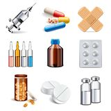 Medical drugs icons vector set Royalty Free Stock Image
