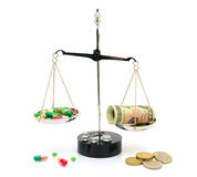 Medical drugs and money on scales on white background Royalty Free Stock Photography