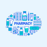 Medical, drugstore banner illustration. Pharmacy vector line icons tablet, capsules, pills, antibiotics, vitamins and Royalty Free Stock Photos