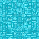 Medical, drugstore seamless pattern, medicament vector background of blue color. Medicines antibiotics, vitamins Stock Photography