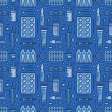 Medical, drugstore seamless pattern, medicament vector blue background. Dosage forms thin line icons - tablet, capsules. Pills. Healthcare cute repeated Royalty Free Stock Image