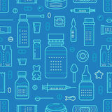 Medical, drugstore seamless pattern, pharmacy vector colored background of blue color. Medicines antibiotics, vitamins Stock Photo