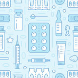 Medical, drugstore seamless pattern, pharmacy vector colored background of blue color. Medicines antibiotics, vitamins Royalty Free Stock Image