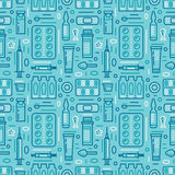 Medical, drugstore seamless pattern, pharmacy vector colored background of blue color. Medicines antibiotics, vitamins Royalty Free Stock Photography