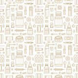 Medical, drugstore seamless pattern, pharmacy vector colored background of pastel beige color. Medicines antibiotics Stock Image