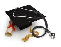 Medical education. Mortar board, diploma and stethoscope on white Royalty Free Stock Image