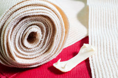 Medical elastic tensor bandage with reflection  with Cherry colo Stock Photos